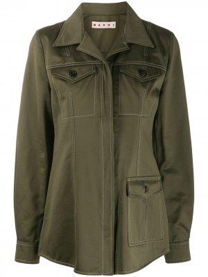 Приталенная куртка с контрастной строчкой Marni. Цвет: красный
