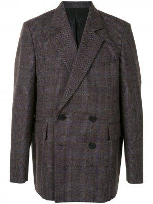Двубортный пиджак в клетку Wooyoungmi. Цвет: коричневый