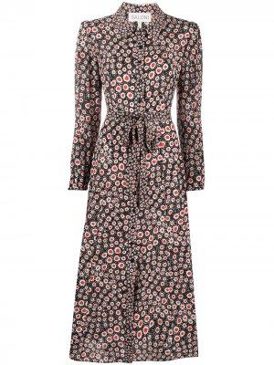 Платье-рубашка Vanessa в горох Saloni. Цвет: черный