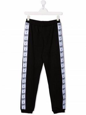 Спортивные брюки Logomania Chiara Ferragni Kids. Цвет: черный