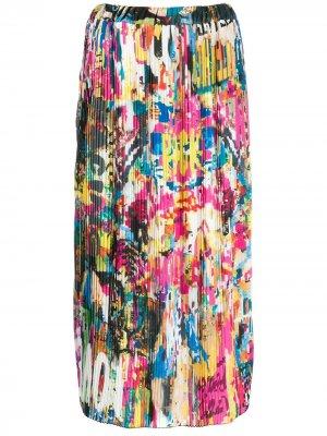 Плиссированная юбка с принтом Ultràchic. Цвет: белый