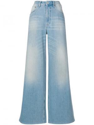 Широкие джинсы с выцветшим эффектом Mm6 Maison Margiela. Цвет: синий