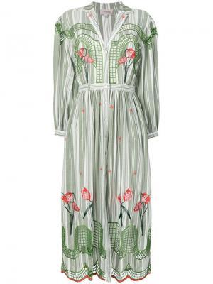 Платье рубашка с принтом Temperley London. Цвет: зеленый