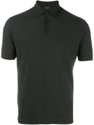 Классическая футболка-поло Zanone. Цвет: зеленый