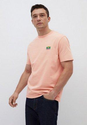 Футболка Mango Man. Цвет: коралловый