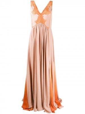 Платье со складками и кружевной вставкой Jonathan Simkhai. Цвет: розовый