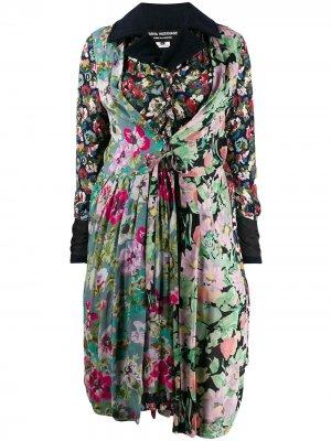 Пальто со складками и цветочным узором Junya Watanabe. Цвет: синий