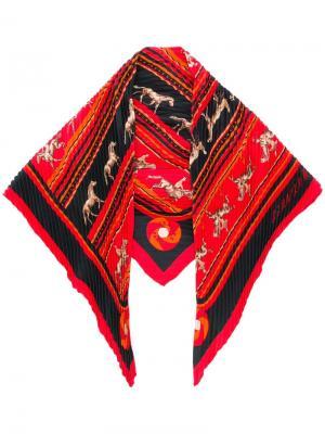 Плиссированный платок Hermès Vintage. Цвет: красный