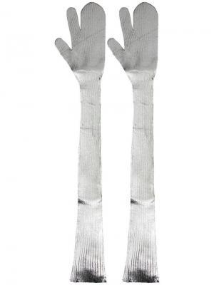 Длинные перчатки-варежки Mm6 Maison Margiela. Цвет: серый