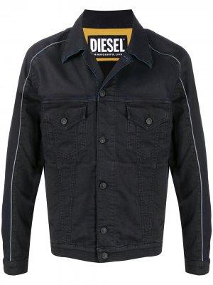 Джинсовая куртка с контрастной окантовкой Diesel. Цвет: черный