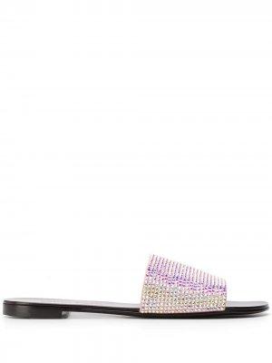 Декорированные сандалии с открытым носком Giuseppe Zanotti. Цвет: розовый