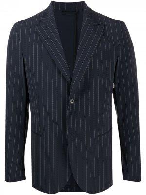 Однобортный пиджак строгого кроя Hydrogen. Цвет: синий