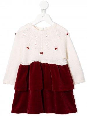 Декорированное платье Familiar. Цвет: белый