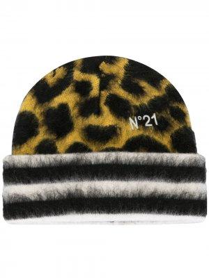 Шапка бини с леопардовым узором Nº21. Цвет: желтый