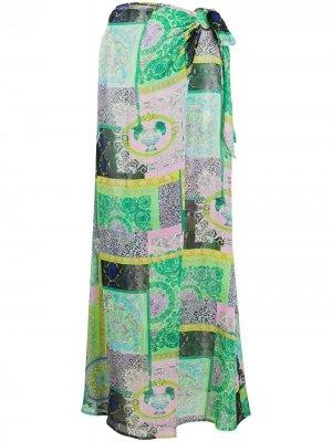 Юбка-саронг с принтом Barocco Patchwork Versace. Цвет: зеленый