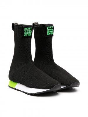 Кроссовки-носки по щиколотку Dkny Kids. Цвет: черный