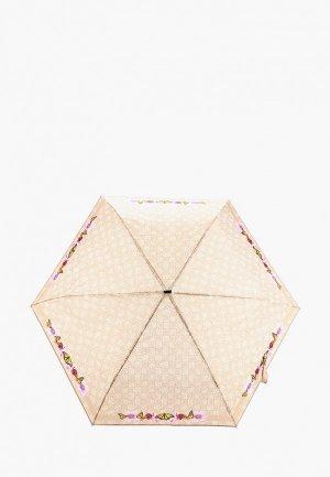 Зонт складной Braccialini. Цвет: бежевый