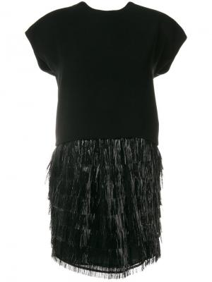 Коктейльное платье с бахромой Balenciaga Vintage. Цвет: черный