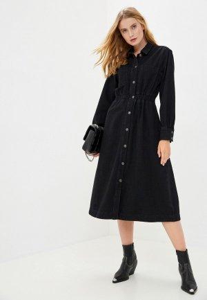 Платье джинсовое Selected Femme. Цвет: черный