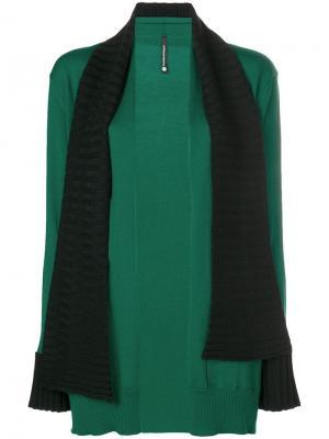 Кардиган с шарфом Pierantoniogaspari. Цвет: зеленый