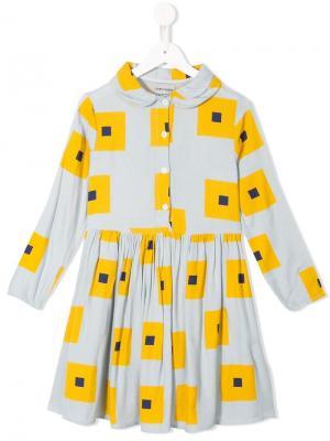 Платье с принтом и сборками Bobo Choses. Цвет: синий