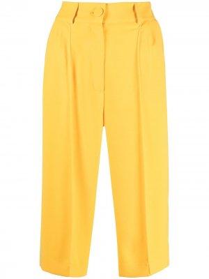 Укороченные брюки строгого кроя Hebe Studio. Цвет: желтый