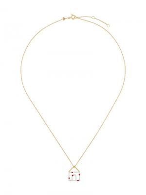 Золотое колье Casita Pois с кулоном из эмали в форме дома Aliita. Цвет: золотистый