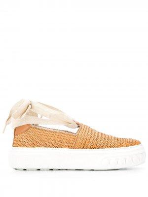 Кроссовки-слипоны Casadei. Цвет: коричневый