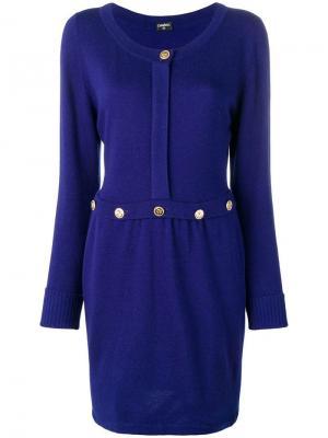 Вязаное платье прямого кроя Chanel Vintage. Цвет: синий
