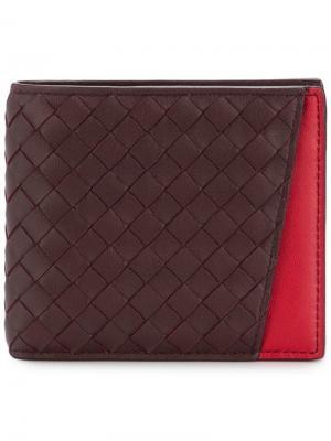 Бумажник с плетением Bottega Veneta. Цвет: красный