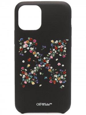 Чехол для iPhone 11 Pro с цветочным принтом Off-White. Цвет: черный
