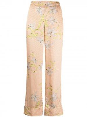 Прямые брюки с цветочным принтом Forte. Цвет: оранжевый