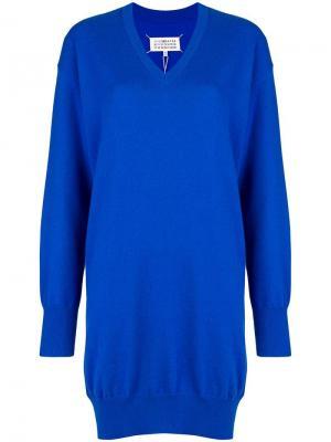 Трикотажное платье в спортивном стиле Maison Margiela. Цвет: синий