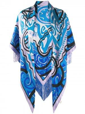 Шаль с абстрактным принтом Emilio Pucci. Цвет: синий