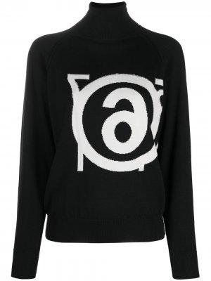 Джемпер вязки интарсия с логотипом MM6 Maison Margiela. Цвет: черный