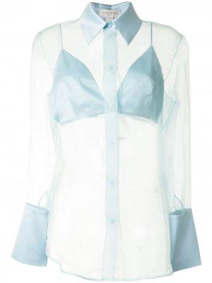 Прозрачная рубашка из органзы Materiel. Цвет: синий