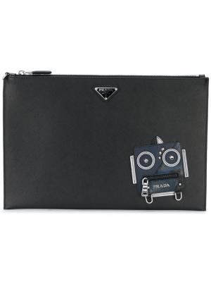 Клатч с роботом Prada. Цвет: чёрный