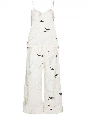 Пижама Cygnus с принтом Desmond & Dempsey. Цвет: белый