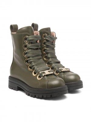 Ботинки на шнуровке Elisabetta Franchi La Mia Bambina. Цвет: зеленый