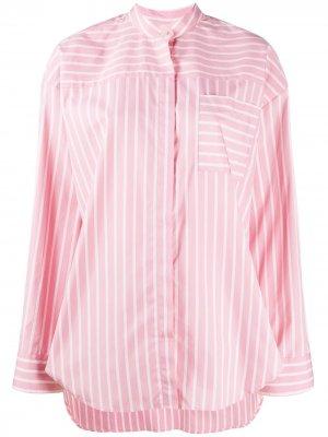 Полосатая рубашка без воротника MSGM. Цвет: розовый