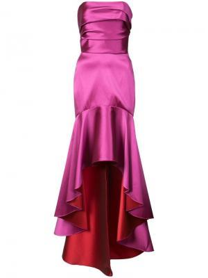 Платье без бретелек с асимметричным подолом Marchesa Notte. Цвет: розовый
