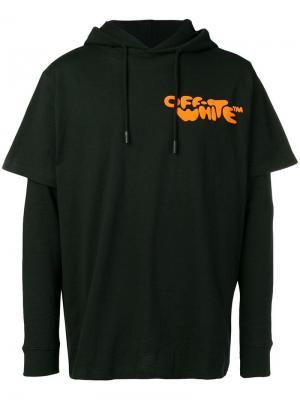 e6f357c8 Многослойная футболка-худи с принтом логотипа Off-White. Цвет: черный