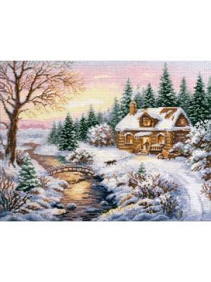 Набор для вышивания Зима.К вечеру 38х30 см. , Алиса. Цвет: белый, голубой, зеленый, коричневый