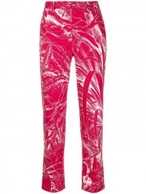 Укороченные брюки с принтом RED Valentino. Цвет: розовый