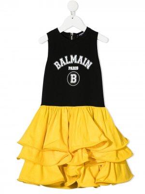 Двухцветное платье с оборками Balmain Kids. Цвет: черный