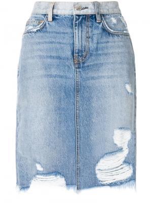 Состаренная юбка с завышенной талией Current/Elliott. Цвет: синий