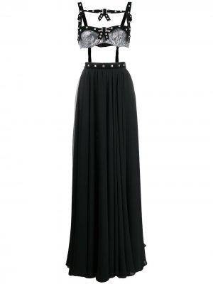 Комплект из топа-бюстье и юбки с кристаллами Philosophy Di Lorenzo Serafini. Цвет: черный