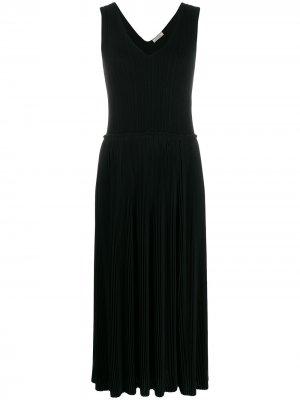 Плиссированное платье миди Nina Ricci. Цвет: черный