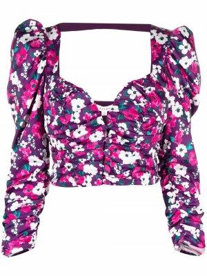 Укороченная блузка с цветочным принтом For Love And Lemons. Цвет: фиолетовый