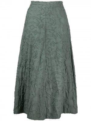 Расклешенная юбка миди с вышивкой Alysi. Цвет: зеленый
